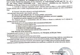 Document de inregistrare sanitara veterinara, pentru miere de albine