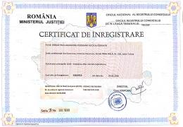 Certificat de inregistrare pentru miere de albina